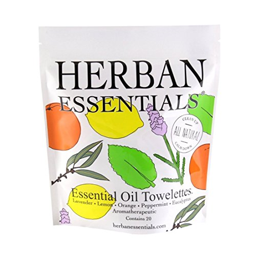 Oil Towelettes - Herban Essentials Assorted Bag (all 5 scents): Lemon, Lavender, Peppermint, Orange and Eucalyptus (20 towelettes)