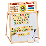8 In 1 Magnetic Whiteboard Black Board Dry Erase Board Words 51 PCS Wooden Magnets ABC Letters Numbers Alphabet Chalk Pen for Home School Education Drawing Writing Tablet (2 Sided) (Education Board)