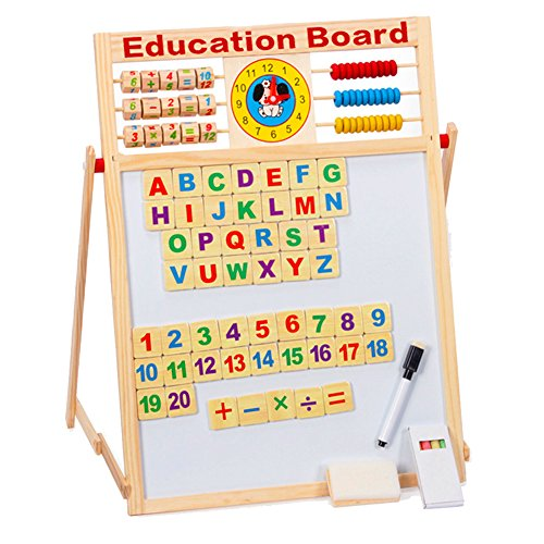 8 In 1 Magnetic Whiteboard Black Board Dry Erase Board Words 51 PCS Wooden Magnets ABC Letters Numbers Alphabet Chalk Pen for Home School Education Drawing Writing Tablet (2 Sided) (Education Board) by Light up in the Dark