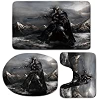 3 Piece Bath Mat Rug Set,Fantasy-World,Bathroom Non-Slip Floor Mat,Skeleton-Soldier-Skull-in-the-War-Area-Holding-Sword-against-the-Enemy-Winter-Theme,Pedestal Rug + Lid Toilet Cover + Bath Mat,Grey