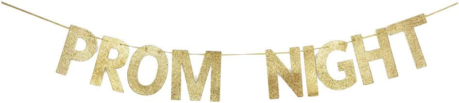 Prom Night Banner, Prom Party Gold Gliter Paper Decors Backdrops