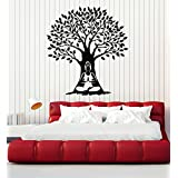 Vinyl Wall Decal Tree Zen Meditation Woman Yoga Buddhism Stickers Mural Large Decor (ig4926) Matte Black