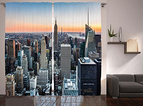 Tuk789 Vip New York City Manhattan Skyline Sunset Landscape Rose Quartz, Cityscape Contemporary Artistic World Decor Collection, Living Room Bedroom Curtain 2 Panels Set, 108 X 84 Inches