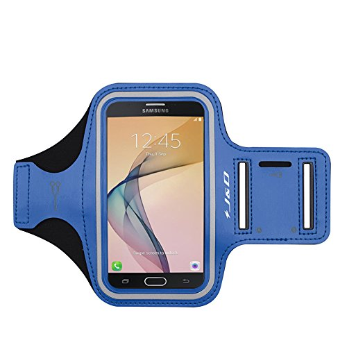 J&D Armband Compatible for Galaxy Xcover 4S/J7 2017/J7 Prime/J7 V/J7 Perx/J7 Sky Pro/J3 2018/J3 V 3rd Gen/J3 Achieve/J3 Star/Amp Prime 3 Sport Running Armband w/Key Holder Slot & Earphone ()