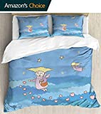 Patchwork Bedspread Quilt Sets 86'x 94',Pre-washed all season machine wash pattern bedspread,Teen Girls Decor Pattern Of Little Cartoon Flying Girls Hearts On The Night Sky With Stars And Clouds Blue