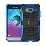 Case for Samsung Galaxy J3 2016 ,Fetrim Rugged Dual Layer Shockproof TPU Case Protective Cover for Samsung Galaxy J3 2016 with Built-in Kickstand (Blue)