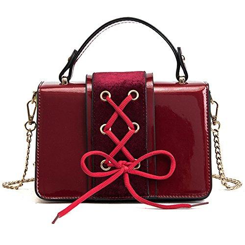 Gwqgz Shoelace Creative Personality Ladies Handbag Single Shoulder Bag Simple Skewing Brown Spanning Gules