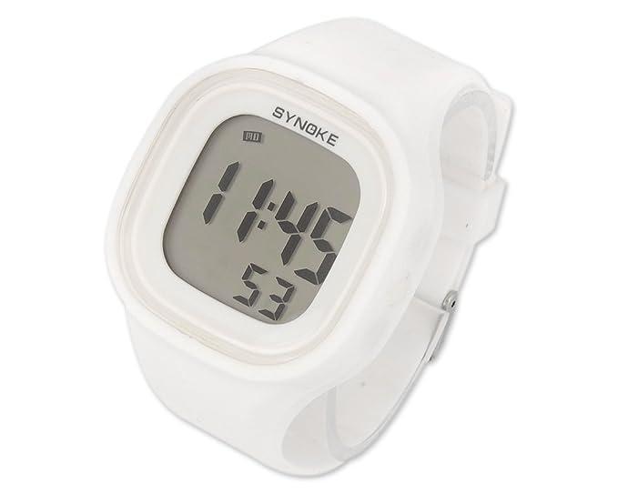 DSstyles 50m impermeable de alarma de cronómetro fecha retroiluminación digital de silicona deporte reloj reloj de pulsera - blanco: Amazon.es: Relojes