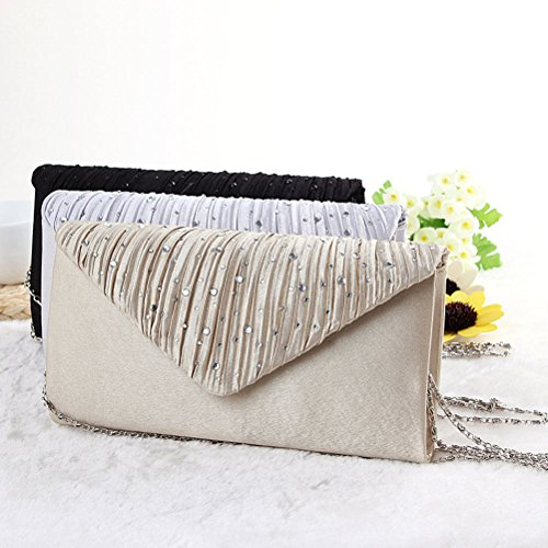 Demarkt Evening Ladies Wedding Party Light Womens Khaki Triangle Cover Crystal Bag Bag Clutch Shoulder Purse with Satin Hand Diamante BFB4wr