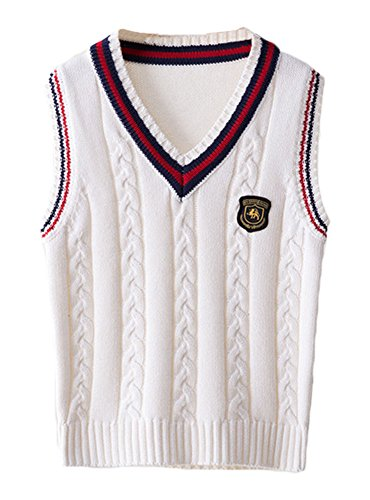 ezShe Boys V Neck Sleeveless Pullover Cable Kinted School Sweaters, White XL