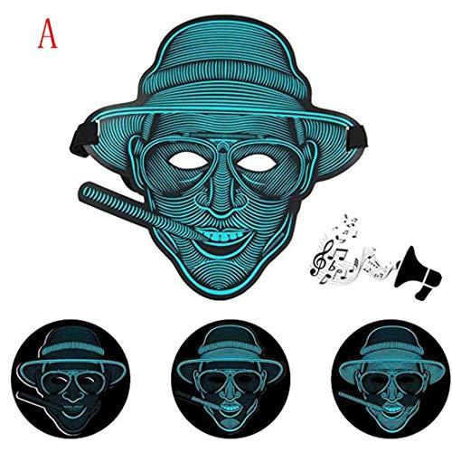 Tpingfe Sound Reactive LED Mask, Party Version Dance Rave Light Up Adjustable Mask for Halloween (A) for $<!--$6.14-->