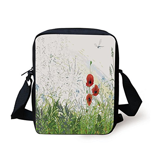 IPrint Dragonfly,Illustration of Meadow Field A Single Fleur de lis on Distressed Grunge Background,Green Red Print Kids Crossbody Messenger Bag Purse
