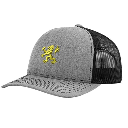 Speedy Pros Heraldic Lion Embroidery Design Richardson Structured Front Mesh Back Cap Heather Gray/Black (Machine Embroidery Lion)