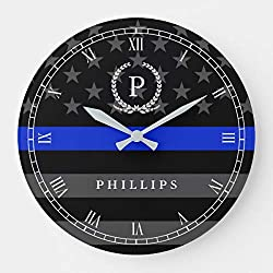 Police Styled American Flag Monogram Wooden Decorative Round Wall Wooden Decorative Round Wall Clock