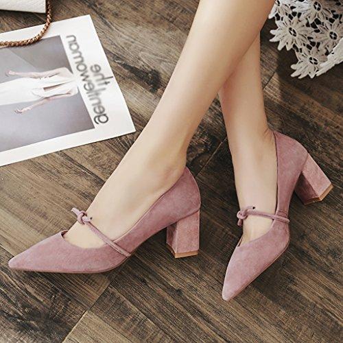 Zapatos Heels Individuales Gruesos o De Mujer Season Spring ZCJB Color Tama Con Punta Con Maiden Pink Zapatos 36 High HqSgS7
