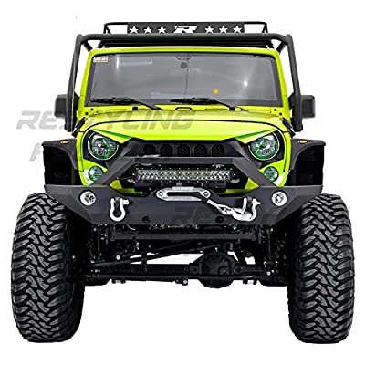 "Restyling Factory - Black Textured Rock Crawler Front Bumper with OE Fog Light Hole, Built-In 21"" ~ 22"" LED Light bar mount, Winch Mount Plate for 07-17 Jeep Wrangler JK"
