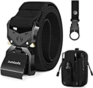Men Tactical Belt, Jumbofit Military Work Belt with Quick Release Buckle,Gift with Molle Pouch & Water Bot
