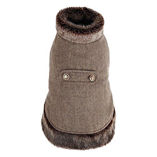 Abrigo para perros marrón tipo capa Nobleza, largo 30cm. Envío gratis.