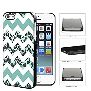 Teal White Chevron With Leopard Design Pattern Hard Plastic Snap On Cell Phone Case Apple iPhone 5 5s by icecream design