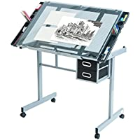 Harper&Bright Designs Adjustable Drafting Table Drawing Desk with Tempered Glass Top, Two Drawers and Castors