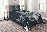 Ambesonne Marine Bedspread, Nautical Knot Compass Anchor Pattern Sea World Ocean Life Grunge Illustration, Decorative Quilted 2 Piece Coverlet Set with Pillow Sham, Twin Size, Blue White