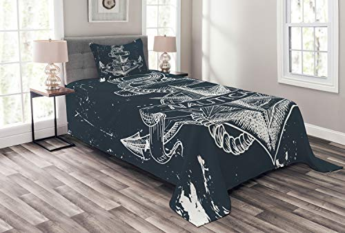 Ambesonne Marine Bedspread, Nautical Knot Compass Anchor Pattern Sea World Ocean Life Grunge Illustration, Decorative Quilted 2 Piece Coverlet Set with Pillow Sham, Twin Size, Blue White (Ocean Bedspreads)