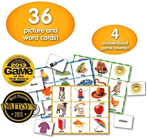 The Learning Journey: Match It! Bingo - Picture Word - Reading Game for Preschool and Kindergarten 36 Picture Word Cards