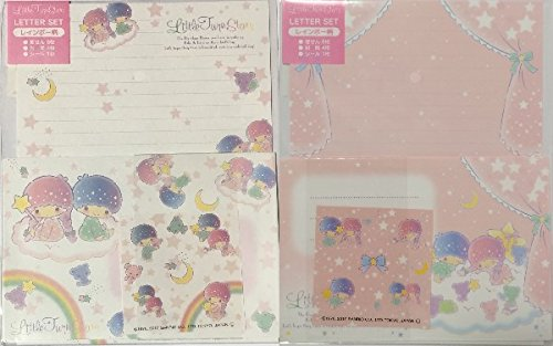 Sanrio Little Twin Stars 2design 2color Letter Set 16 Writing Paper + 8 Envelopes + 10 Stickers Stationary (Rainbow)