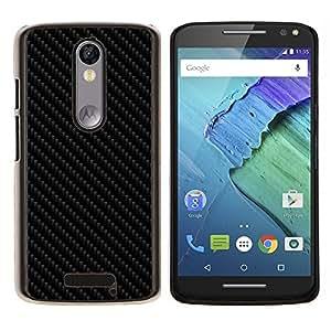 Qstar Arte & diseño plástico duro Fundas Cover Cubre Hard Case Cover para Motorola Droid Turbo 2 / Moto X Force (Carbon Patrón imitación)