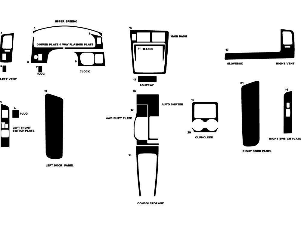 Rdash Dash Kit Decal Trim for Toyota Tacoma 1995-1997 - Camouflage (Digital) Rvinyl