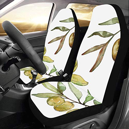 Olives Green Cartoon Custom New Universal Fit Auto Drive Car Seat Covers Protector for Women Automobile Jeep Truck SUV Vehicle Full Set Accessories for Adult Baby (Set of 2 Front)