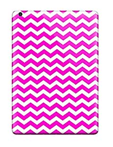 New Style Paula S Roper Hard Case Cover For Ipad Air- Bright Pink And White Chevron