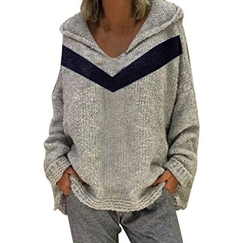 Sunyastor 2019 New Women Long Sleeve V-Neck Patchwork Pullover Hoodies Shirt Casual Blouse Tops Gray