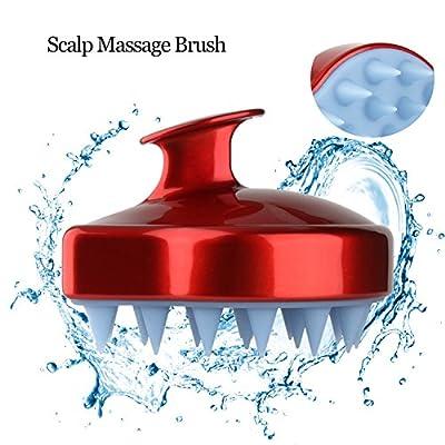 Shampoo Brush Scalp Massager, Scalp Massage Brush Silicone Soft Comb for Scalp Care, Hair Scalp Brush for Men, Women & Kids - Red