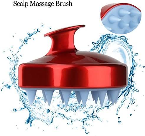 Shampoo Brush Scalp Massager, Scalp Massage Brush Silicone Soft Comb for Scalp Care, Hair Scalp Brush for Men, Women & Kids, Red