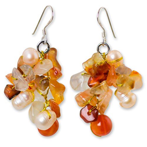 NOVICA Cultured Freshwater Pearl and Carnelian Earrings with Sterling Silver Hooks, Happiness'