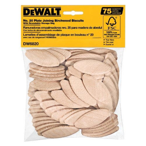 DEWALT DW6820 No. 20 Size Joining Biscuits (75 Pieces) ()