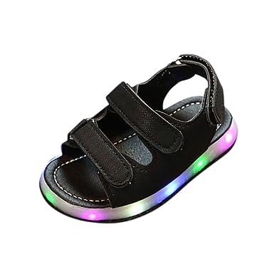 586d1ae21910 Amazon.com  Sunbona Baby Boys Girls LED Light-Up Closed-Toe Sandals ...