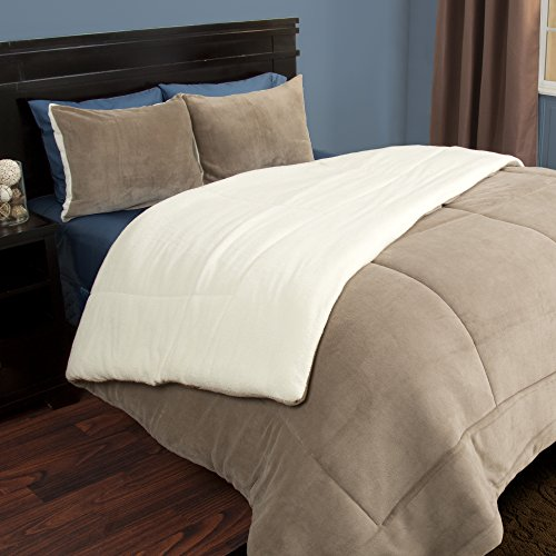 Bedford Home 3 Piece Sherpa/Fleece Comforter Set - F/Q - Taupe (Fleece Sherpa Quilt)