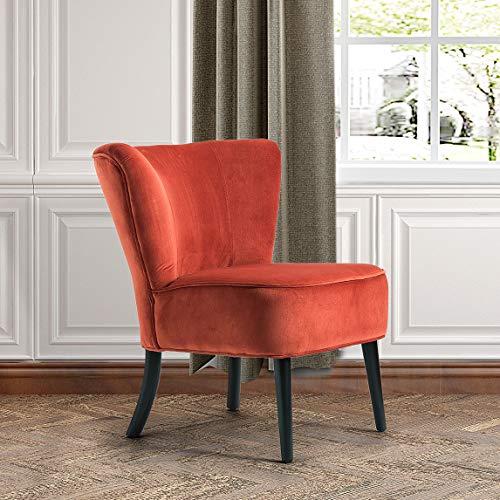 Orange Upholstered Velvet Accent Chair | Emille Armless Wingback Chair - -