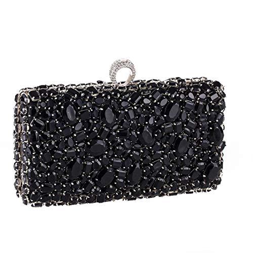 Donna Diamanti Black Silver Con color Sera Banchetto Da Borsa Pochette In Acrilico Magai BRWqt1wB