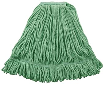 """Wilen A02811, J W Atomic Loop Wet Mop, Small, 1-1/4"""" Tape Band, Green (Case of 12)"""