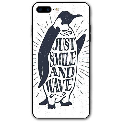 Compatible with iPhone 7 Plus Case & iPhone 8 Plus Case, Penguin Waving His Flipper and Just Smile and Wave Text in The Belly,Soft Rubber Phone Case ()
