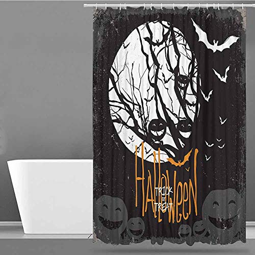 VIVIDX Shower stall Curtains,Vintage Halloween,Halloween Themed Image with Full Moon and Jack o Lanterns on a Tree,Metal Build,W72x72L Black -