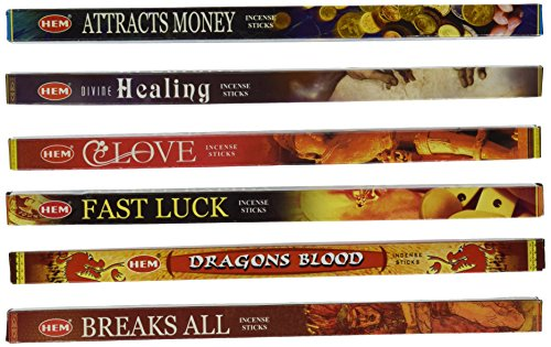 5 Different Incense Packs-(plus 1 More) Money, Healing, Love, Luck, Dragons Blood,