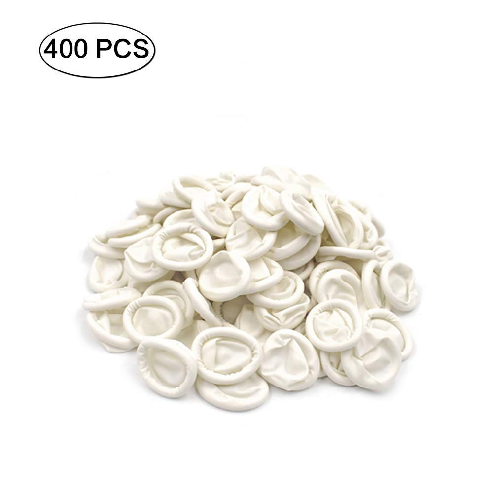 Aibada 400pcs Protective Natural Finger Cots Latex Powder Free Medium Rubber Fingertips