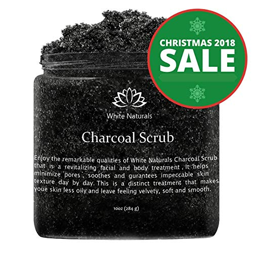 Activated Charcoal Scrub 10 oz By White Naturals: Facial & Body scrub, Reduces Wrinkles, Blackheads & Acne Scars,Natural Skin Care, Face Cleanser,Pure Vegan Scrub For Skin Exfoliation And Detox. ()