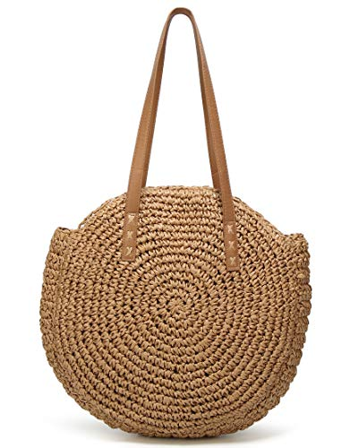 (Molodo Round Summer Straw Large Woven Bag Purse For Women Vocation Tote Handbags (CBB005-Camel2))