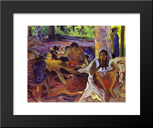 The fisherwomen of Tahiti 20x24 Framed Art Print by Paul Gauguin (Tahiti Framed)