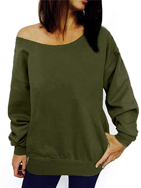 69721f1326535b RJXDLT Women s Off Shoulder Sweatshirt Slouchy Pullover Tops Long Sleeve  Casual Shirt Army Green S 107